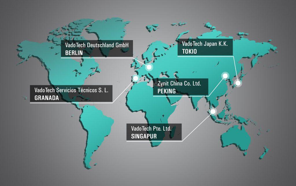 Standorte der Landesgesellschaften von VadoTech und Zynit. VadoTech Germany GmbH in Berlin. VadoTech Servicios Técnicos S.L. in Granada. VadoTech Japan K.K. in Tokio. Cynit China Co. Ltd. in Peking. VadoTech Pte. Ltd. in Singapur.