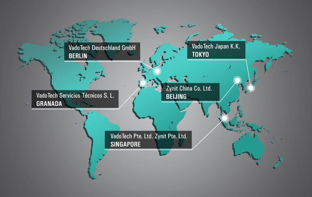 Locations of the national companies of VadoTech and Zynit. VadoTech Germany GmbH in Berlin. VadoTech Servicios Técnicos S.L. in Granada. VadoTech Japan K.K. in Tokyo. Cynit China Co. Ltd. in Beijing. VadoTech Pte. Ltd. in Singapore.
